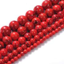 """Natural Stone Beads 12mm Red Turquoise Gemstone Round Loose Beads Crystal Energy Stone Healing Power for Jewelry Making DIY,1 Strand 15"""""""