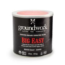 Groundwork Organic Ground Medium Roast Coffee, Big Easy, 16 oz Can (Pack of 2)