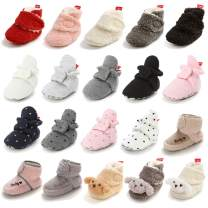 TIMATEGO Newborn Baby Boys Girls Booties Stay On Socks Non Skid Soft Cotton Lining Infant Toddler Warm Winter House Slipper Crib Shoes 0-18 Months