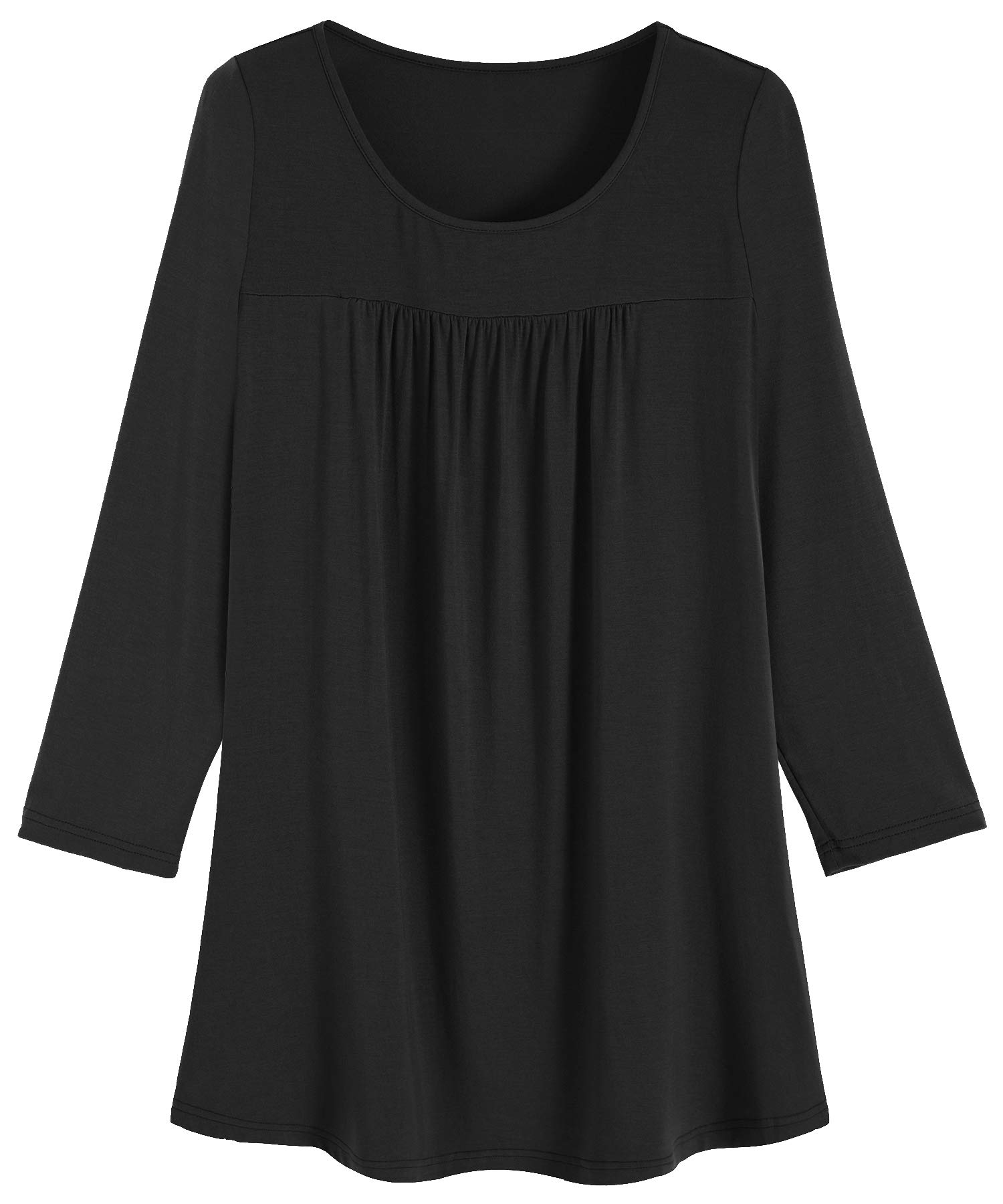 Weintee Women's 3/4 Sleeves Pleated Tunic Top