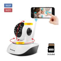 KORANG 960P 1.3 Megapixel Wireless WiFi IP Security Camera with 32G SD Card Pan & Tilt Two -Way Audio and Night Vision