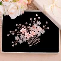 Drecode Bridal Wedding Hair Comb Flower Silver Sparky Crystal Side Comb Bride Pearl Hair Accessories for Women and Girls (Rose Gold)