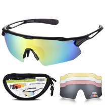 Snowledge Cycling Glasses for Men Women with 5 Interchangeable Lenses,TR90 Sport Sunglasses for Men for Cycling,UV400 Polarized Sunglasses,Sports Sunglasses for Men Women