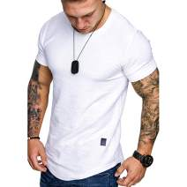Athletic Mens Short Sleeve T-Shirt Casual Gym Workout Solid Sport Cotton Muscle Tee Shirt Top