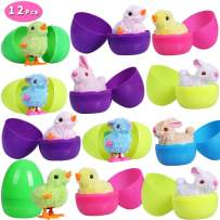 Max Fun Easter Eggs Filled with Wind-Up Toys, 3.7'' Colorful Plastic Surprise Eggs with 12 Easter Wind Up Rabbits and Chicks for Kids Party FavorsEaster Basket Stuffers Fillers