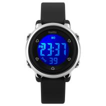 BesWLZ Kids Outdoor Sport LED Digital Electrical Luminescent Waterproof Alarm Children Dress Wrist Watch with LED Alarm Stopwatch for Boys Girls (Black)