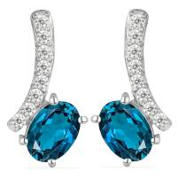 JewelPin Contemporary Natural Gemstone Sterling Silver Earrings for Women