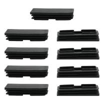 uxcell 9pcs Plastic Rectangle 25 x 75mm Ribbed Tube Inserts Pipe Tubing End Cover Caps Furniture Glide Floor Protector Black