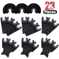 Hilitchi 23 Pcs Oscillating Saw Blades Metal Wood Multitool Blades Quick Release Cutting Blade for Dewalt, Craftsman, Ridgid, Milwaukee, Rockwell, Ryobi and More