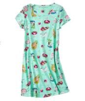 PNAEONG Women's Cotton Nightgown Sleepwear Short Sleeves Shirt Casual Print Sleepdress