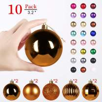 GameXcel Christmas Balls Ornaments for Xmas Tree - Shatterproof Christmas Tree Decorations Large Hanging Ball Bronze3.2 x 10 Pack