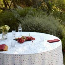 """Huddleson Multicolor Polka Dot Round Circular Luxury Made in US Pure Italian Linen Tablecloth, 108"""" Round Circular Luxury Made in US"""