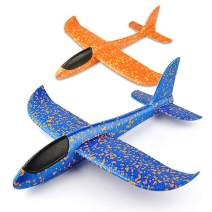 """VCOSTORE 2pcs 13.5"""" Foam Airplanes for Kids, Throwing Glider Plane Toys for Boys Grils Age 3-12 Yrs Gift, Party Favor Aircraft Outdoor Sport Game Fun 1.0 Version (Blue&Orange)"""