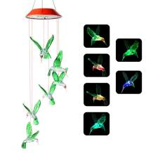 Mosteck Wind Chimes Outdoor, Solar Hummingbird Wind Chimes, Changing Color Six Hummingbird Wind Chime, Best Birthday Gifts for Mom Grandma, Decorative Patio Light Outdoor for Balcony Porch Party