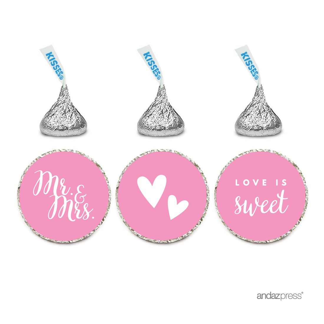 Andaz Press Chocolate Drop Labels Trio, Fits Hershey's Kisses, Wedding Mr. & Mrs, Pink, 216-Pack, for Bridal Shower, Engagement Party Favors, Gifts, Stationery, Envelopes, Decor, Decorations