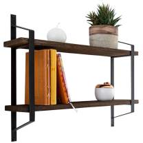 Decorative 2-Tier Floating Shelves – Rustic Wall Storage Made of Sturdy Paulownia Wood w/Coated Steel Brackets – Wooden Shelves for Bathroom, Living Room, Kitchen & More - Brown