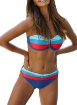 Lovezesent Women 2pcs Color Block Tie Dye Print Padded Push Up Bikini Swimsuit