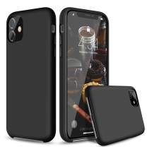 "abitku Silicone Case for iPhone 11, Soft Liquid Silicone Gel Rubber Shockproof Protective Case Cover Microfiber Lining Compatible with iPhone 11 6.1"" 2019 (Black)"
