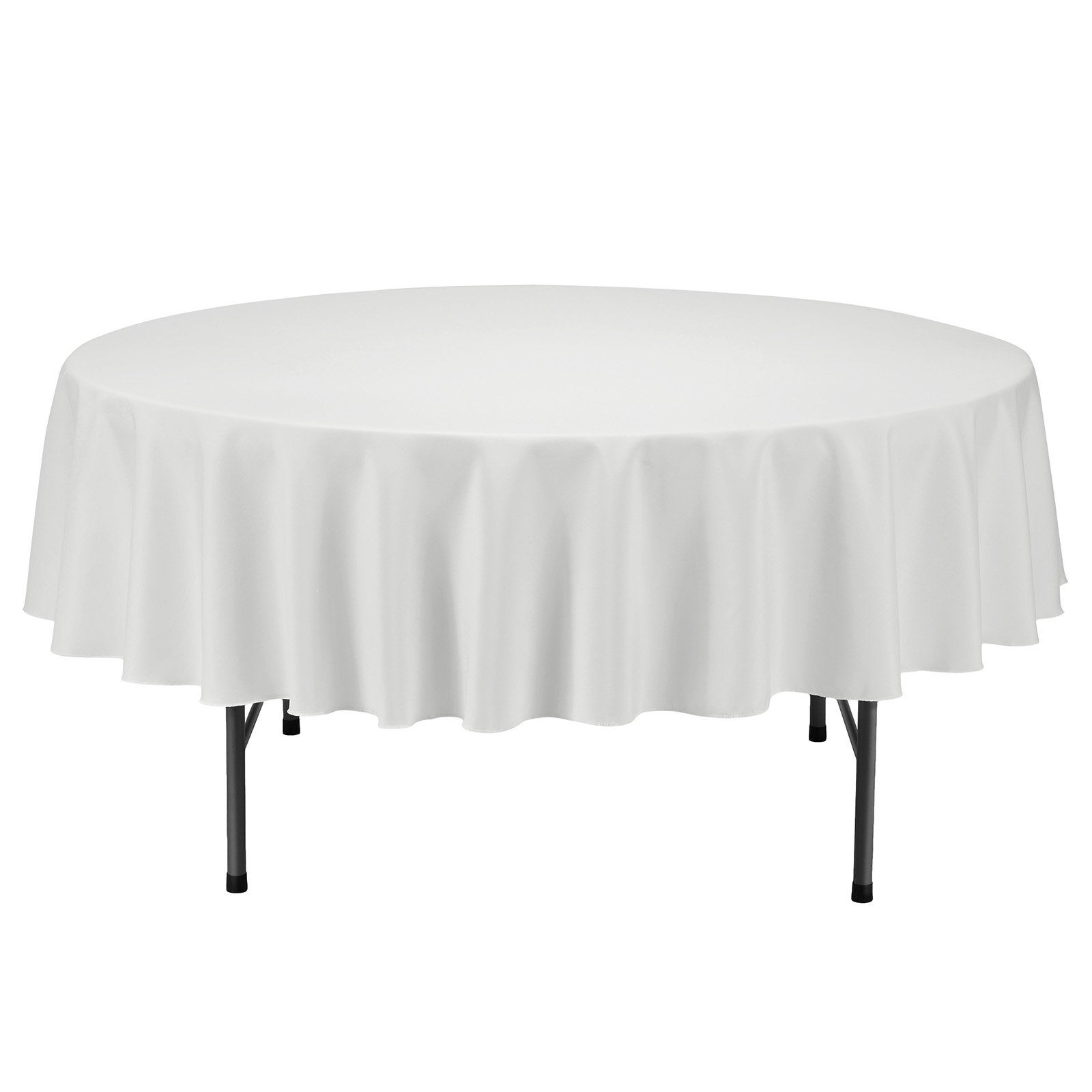 Remedios Round Tablecloth Solid Color Polyester Table Cloth for Bridal Shower Wedding Table – Wrinkle Free Dinner Tablecloth for Restaurant Party Banquet (Ivory, 70 inch)