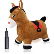 Bouncy Horse Hopper for Toddlers-Hopping/Bouncing/Bounce Horse, Jumping Horse, Inflatable Ride-on Animal Toy for Kids/ Children/ Boys/ Girls Plush Covered(Include Pump)
