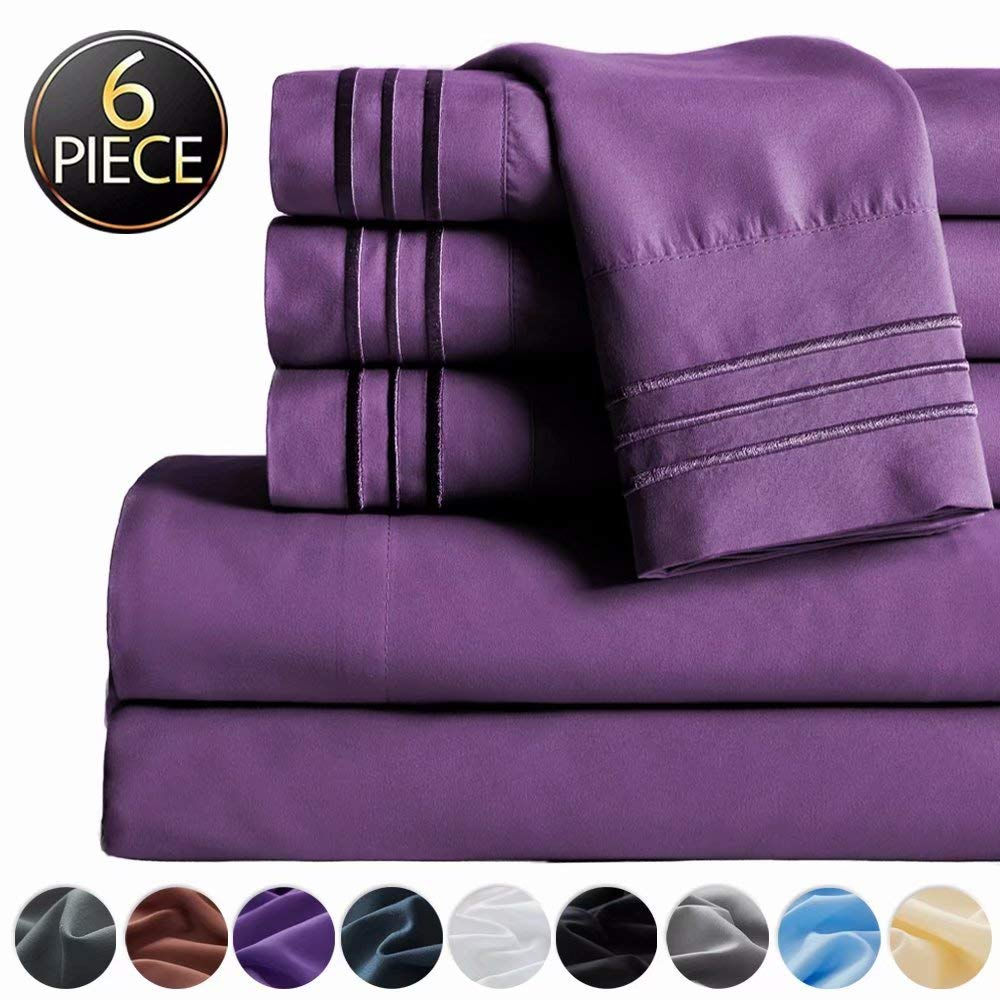 "SAKIAO -6PC California King Bed Sheets Set - Brushed Microfiber 1800 Thread Count Percale - 16"" Deep Pocket Wrinkle Free & Fade Resistant - Egyptian Sheet Set (Purple,California King)"