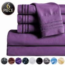 """SAKIAO -6PC King Size Bed Sheets Set - Brushed Microfiber 1800 Thread Count Percale - 16"""" Deep Pocket Wrinkle Free & Fade Resistant - Egyptian Sheet Set (Purple,King)"""