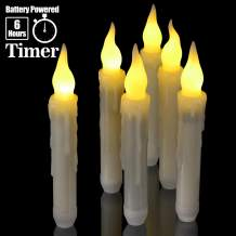 """6pcs Flameless Taper Candles with Timer, PChero 6.7"""" LED Battery Operated Tapered Candlesticks with Warm Yellow Flickering Flame, Dripless Candles for Church Themed Party Home Decorations"""