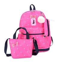 VIDOSCLA 3Pcs Heart Printing Backpack Sets Bow-knot Primary Schoolbag Travel Rucksack with Shoulder Bag Pencil Case