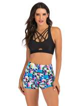 Women's Two Piece Swimsuit Set Racerback Top with High Waist Bottom Shorts Athletic Swimwear