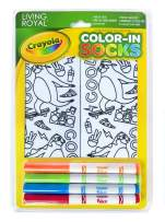 Living Royal Crayola Kid's Color-in Socks - Includes 1 Pair of Socks and 4 Fabric Markers (Skateboarding Sloth)