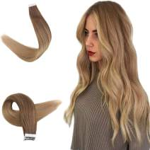 Easyouth 18 inch Remy Hair Extensions Tape in Balayage Color 10 Golden Brown Fading to 16 Gloden Blonde Straight Hairpiece Skin Weft Tape in Human Hair Extensions 20pcs 40g/Pack