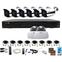 Revo America AeroHD 16Ch. 5MP DVR, 2TB HDD Video Security System, 6 x 5 MP IR Bullet Cameras, 2 x 5 MP IR Dome Cameras Indoor/Outdoor - Remote Access via Smart Phone, Tablet, PC & MAC