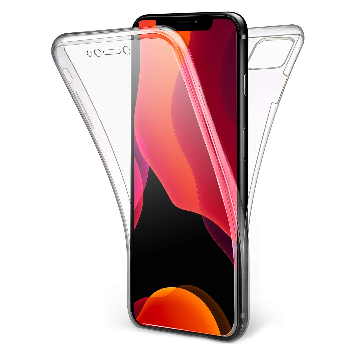Olixar for iPhone 11 Pro Full Body Case - 360 Degree Full Body Cover - Front + Back Protection - Clear Slim Design - Wireless Charging Compatible - FlexiCover - Clear
