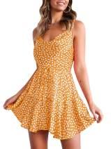 Imily Bela Womens Boho Floral Tank Dress Sleeveless Spaghetti Strap A Line Sexy Beach Dress