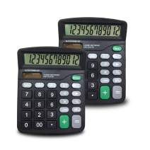 SourceTon 2 Packs of 12-Digit Standard Desktop Calculator, Basic Handheld Calculator with Large LCD Display and Large Buttons, Dual Powered Office Calculator, Black