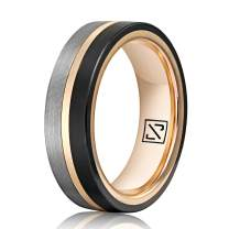 Luxffield 6mm 8mm Men Rose Gold Tungsten Ring, Black and Silver Tri-Tones Brushed Comfort Fit Wedding Band Promise Ring, Size 7.5-13