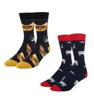 HAPPYPOP Men's Llama Cat Space Golf Math Socks, Funny Novelty Design with Gift Box