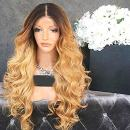 Wicca Brazilian human hair Ombre blonde Full lace wigs Dark root Loose wave Lace front wig Bleached knot Pre plucked hairline 150% density (12inch, Lace Front Wigs 150% Density)