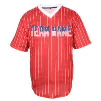 Pullonsy V-Neck Custom Baseball Jersey for Men Women Kids Pinstriped Mesh Embroidered Team Name & Numbers S-8XL