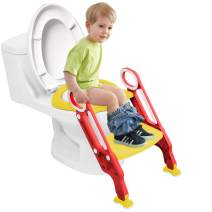 Potty Training Seat for Kids, Adjustable Toddler Toilet Potty Chair Step Potty Ladder Toilet Training Seat for Baby with Sturdy Non-Slip Step Stool Ladder, Splash Guard, Easy to Assemble (Red&Yellow)