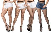 ADESUGATA Women Fishnet Stockings - 4 Pairs High Waisted Fishnets Tights Pantyhose Sheer Mesh Leggings Net Pantyhose for Dancing Party,Super Large/Large/Medium/Small Socks