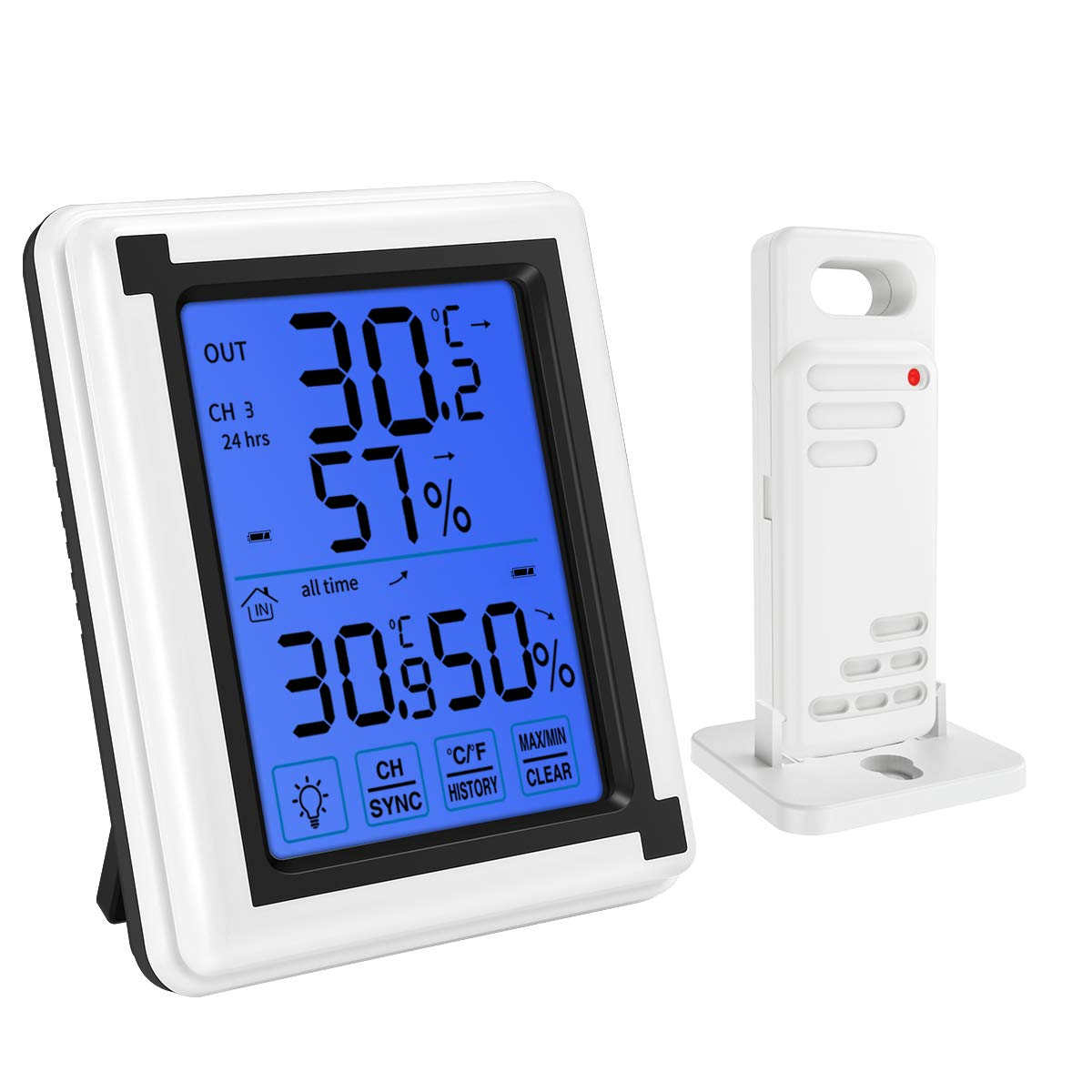 KeeKit Indoor Outdoor Thermometer, Digital Temperature Humidity Monitor with Sensor, Wireless Hygrometer Gauge Meter with Touch LCD Backlight, MAX/MIN Record for Home, Office, Baby Room - White