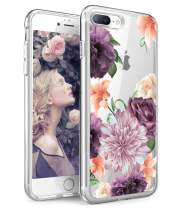 SPEVERT iPhone 8 Plus case,iPhone 7 Plus Case, Flower Pattern Printed Clear Design Transparent Hard Back Case with TPU Bumper Cover for iPhone 8 Plus (Purple Rose)