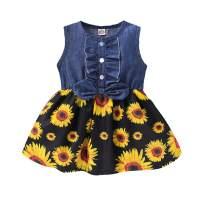 Toddler Baby Girl Sunflower Dress Sleeveless Denim Tops Beach Dress Summer Skirt Outfits (Black+A, 2-3T)