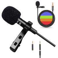 Lavalier Lapel Microphone for Android Smartphones iPhone Laptop Camera,Omnidirectional Condenser Mic,Recording Mic for YouTube Interview Video,12 FT Length Noise Cancelling