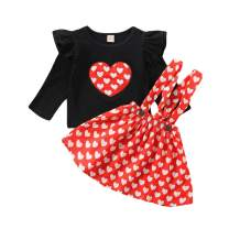 Toddler Baby Girls Skirt Outfits Valentine's Day Ruffle Sleeve Shirt Love Print Strap Skirts Set Dress Clothes