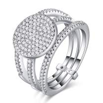 Silver Plated Crowded Round-Cut Cubic Zirconia Stacking Ring, Eternity Band Ring for Women Girls