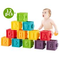 Bu-buildup BBU.02.001 Squeeze Baby Blocks, Soft Building Blocks for Toddlers, Teething Chewing Toys, Educational Baby Toys with Animals, Shapes, Textures, Numbers, 12 PCS for Baby 6 Month & Up