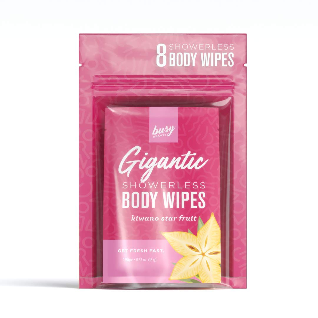 Busy Beauty | Gigantic Body Wipes | Showerless Cleaning | Plant-Based, Aluminum-Free, Natural | All Skin Types | Vegan | Cruelty-Free | Paraben-Free | 8 Pack (Kiwano Starfruit)
