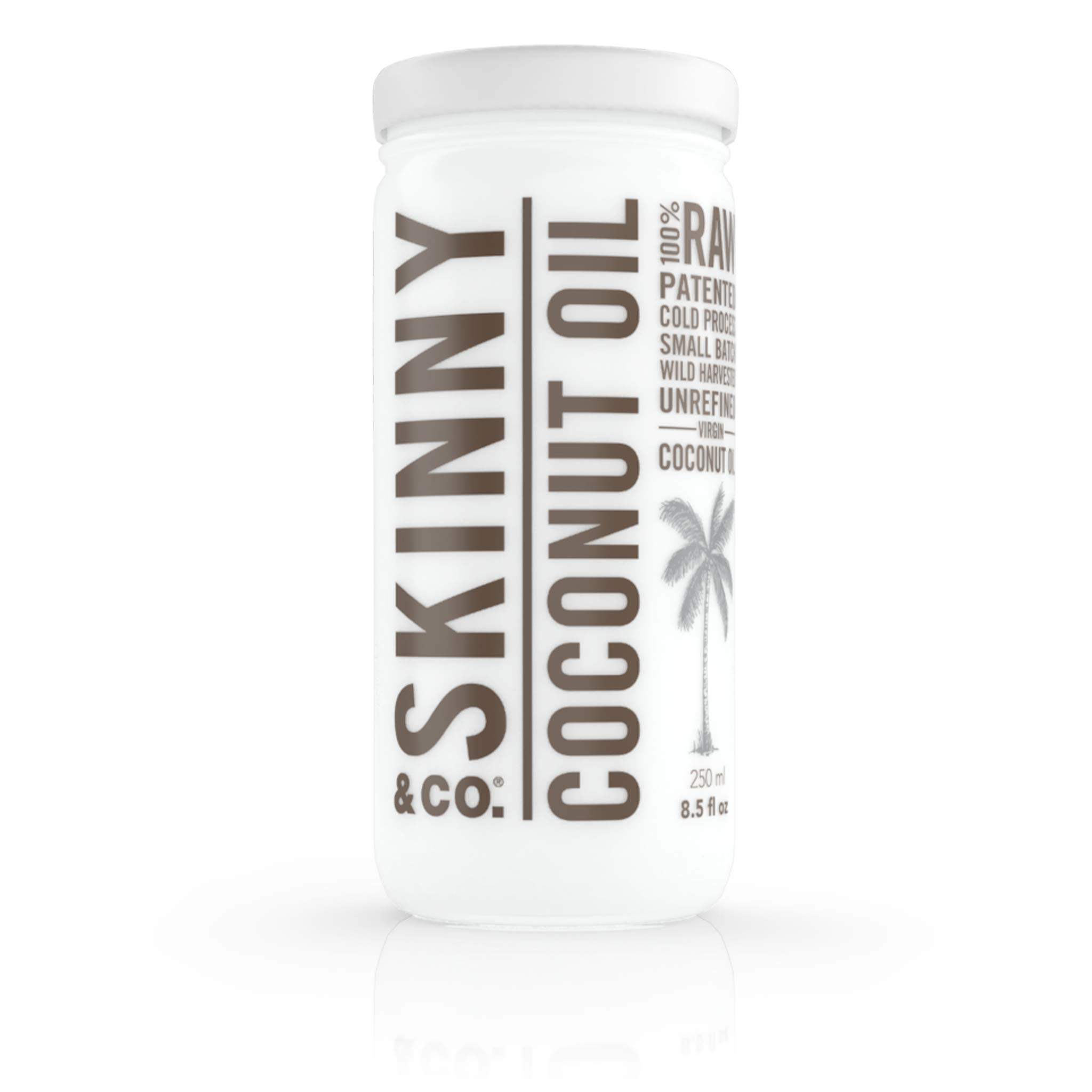 SKINNY & CO. Coconut Oil -100% Raw & Pure Virgin Coconut Oil- Multi-Use, Hair and Skin Supplement, Cooking Oil Substitute, Paleo, Keto, Vegan, Cruelty-Free, Non GMO, Soy Free and No Trans Fat, 8.5 oz.